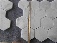 Carrara White Marble Hexagon Mosaic Tiles