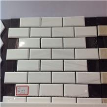 White Marble Bathroom Brick Backsplash Mosaic