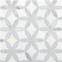White Mixed Grey Marble Waterjet Pattern Mosaic