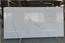 Calacatta White Artificial Quartz Slabs Tiles Wall Floor