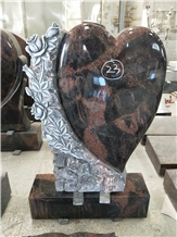 Indian Aurora Granite Heart Tombstone Monuments