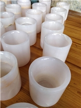 Pink Onyx Natural Stone Candle Jar Holders