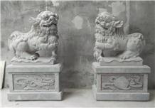 Bluestone Lion Sculpture Garden Cemetery Decorated