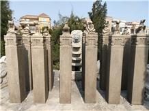 Chinese Zodiac Animal Sculptured Columns Pillars