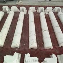 Carved White Marble Natural Stone Roman Columns