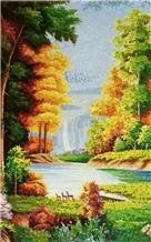 Landscape Scenery Of Fall Season Glass Mosaic Art
