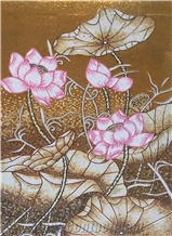 Little Pink and White Lotus with Dragonfly Glass