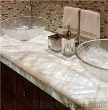 Cristallo Quartzite Ice Jade Stone Vanity Top Countertops