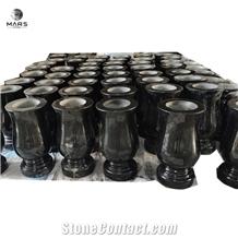 Indian Black Granite Flower Vases Gravestone Accessories