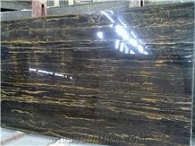 Italian Nero Portoro Black Golden Flower Marble Slab Tiles