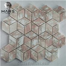 Norway Rose Marble Rhombus Pink Mosaic Tiles Backsplash