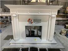 Fireplace Portals- Fireplace Mantels, Makrana White Marble Fireplace Mantels