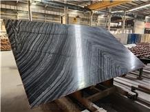 Silver Wave Black Marble Floor Wall Slabs Tiles