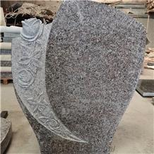 China G664 Granite Caving Headstone European Style