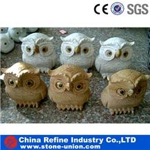 Cute Owl Granite Sculpture,Yellow Animal Statues
