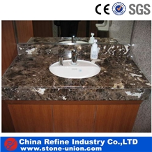 High Quality Polished Brown Marble Vanity Tops