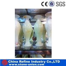 Light Green Onyx Sculpture Interior Flower Vases