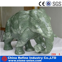 Polished Elephant Animal Green Marble Sculptures