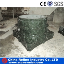 Verde Green Marble Hand Carving Columns for Home