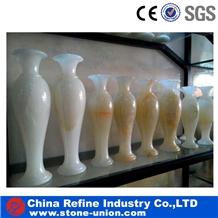 White Onyx Stone Sculpture Vase,Onyx Stone