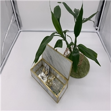 White,Green Marble Stone Jewelry Box Crafts