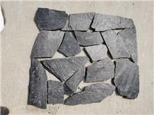 Natural China Black Quartzite Irregular Flagstones Pavers