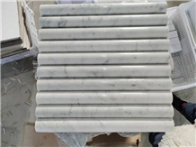 Polished Bianco Carrara White Marble Mosaic Tiles