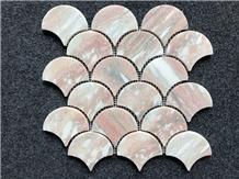 Rosa Norvegia Marble Sector Mosaic Tile