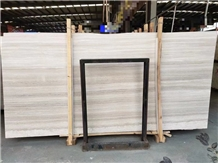 Wooden White Marble Slab Bathroom Paver Tiles