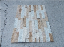 Yellow Wooden Natural Wall Decor Cultured Stone
