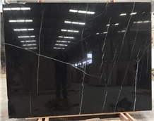 Chinese Cheap Black Marquina Marble Slab Price