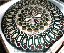 Green Round Marble Stone Inlay Dining Table Top