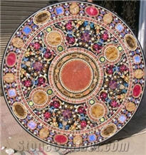 Round Marble Stone Inlay Dining Table Top