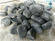 Polished Black Marble Pebble Stone from Vietnam