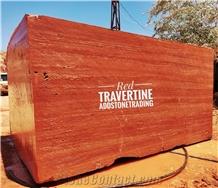 Red Travertine - Rosso Travertino Blocks , Azarshahr Red Travertine Block