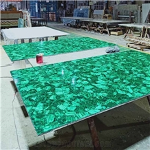 Customized Malachite Green Gemstone Slab