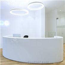 Artificial Stone White Round Shape Reception Desk