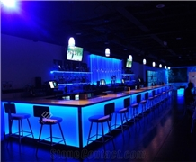 Fancy Design Curved Marble Led Ready Made Bar Counter