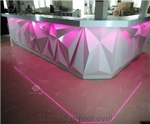High End Restaurant Solid Surface Luxury Led Bar Counter