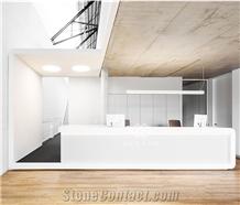 White Artificial Marble Reception Furniture Design