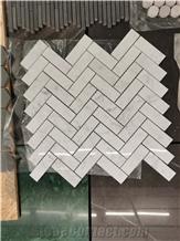 Herringbone,Bianco Carrara White Mosaic,Decorative Marble