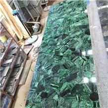Green Agate Stone Countertop Slab,Dark Green Gem for Bar Top