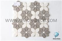 Modern Marble Tile Water-Jet Brown Flowers Mosaic