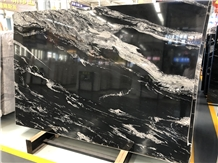 China Black with White Veins Marble Slabs