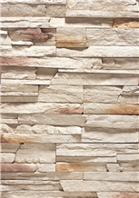 Stacked Beige Cultured Slate Stone for Wall