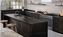 Calacatta Black Quartz Countertops Vietnam Man Made Stone