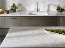 Iced White Quartz Countertops Vietnam Engineered Stone