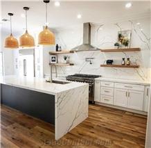 Calacatta White Artificial Quartz Coutertop and Kitchen Top