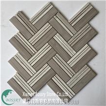 China Cheap Mosaic Wood Gray Tile