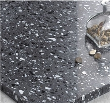 Black Terrazzo Stone 1cm Wall Tile,Black Inorganic Stone